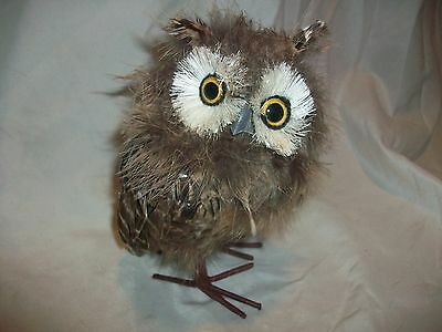 Owl Figurine Figure Made of Feathers Brown