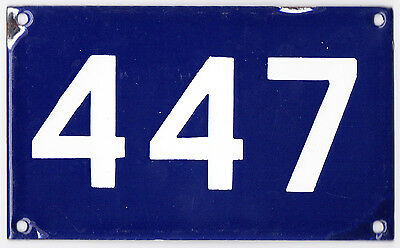 Old Australian used house number 447 door gate enamel metal sign in French blue