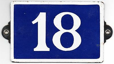 Old blue French house number 18 door gate plate plaque enamel metal sign steel