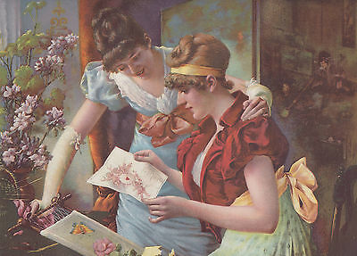 Victorian Ladies Reading Valentine's Day Card Lithograph Antique Print 1894