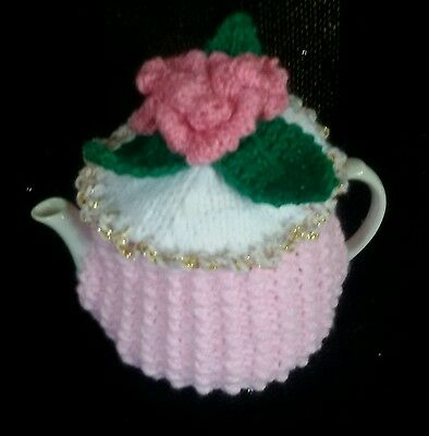 Knitted Tea Cosy Rosie Posie Cosie New Small 2 Cup Pot Size