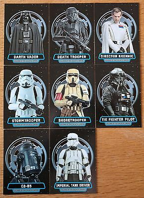 Star Wars Rogue One Series 1 Villains of the Empire Set 8 Cards