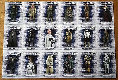 Star Wars Rogue One Series 1 Sticker Set 18 Cards Very Rare Hard to Make