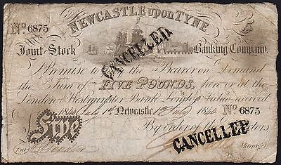1840 NEWCASTLE UPON TYNE £5 BANKNOTE * 6875 * VG * Outing 1515b *