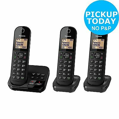Panasonic Cordless Telephone with Answer Machine- Triple- Black -From Argos ebay