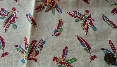 """Vintage Feed Sack Quilt Fabric 35 1/2"""" X 38"""" Colorful Feathers"""