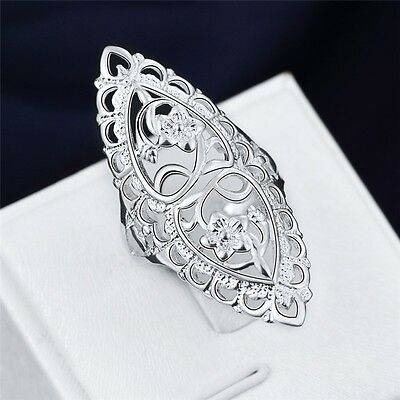 925 Silver Plated Hollow Big Wedding Ring Size 6,7,8,9,10 Women Fashion Jewelry