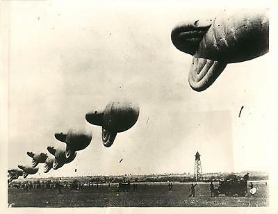 """WWII Section of London's Balloon Barrage in the """"Up"""" Position Press Photo"""