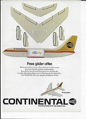 Continental Airlines 4 Pg Birth Of A New Proud Bird Livery B320C Glider Ad