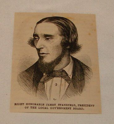 small 1880 magazine engraving ~ SIR JAMES STANSFIELD