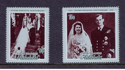 AITUTAKI - Cook Islands - 1972 Silver Wedding - SG46/7 - MNH (Unmounted Mint)