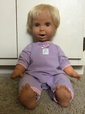 """Mattel Miracle Moves 18"""" Interactive Baby Doll Wets Drinks Coos Bats Eyes"""