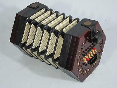 FINE 48 KEY ENGLISH CONCERTINA LACHENAL No 34739 STEEL REEDS 1895 squeezebox