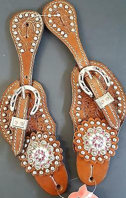 Medium Oiled LADIES Western Spur Straps with Crystals and Pink Rhinestones