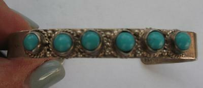 Vintage Taxco Sterling Turquoise Handcrafted Cuff Bracelet Signed Jm Baby Child