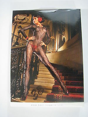 Baci Lingerie Black Longsleeve Flower Lace Bodystocking ONE SIZE #38