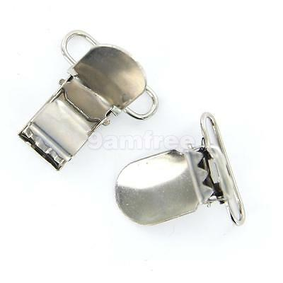 20 Metal Suspender Pacifier Holder Mitten Clips Silver Ring Length 25mm