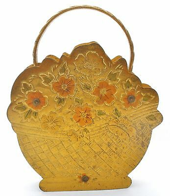 Vintage Zell Brass Basket Compact Novelty Lady's Flower Vanity Powder Mirror