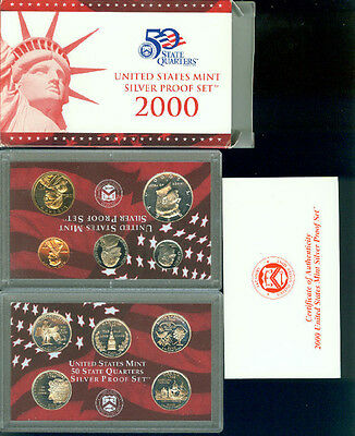 2000 United States Silver Proof Set In Original Box With Papers