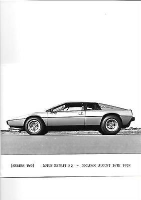 "Series Two Lotus Esprit S2 Press Photo August 1978 ""brochure Related"""