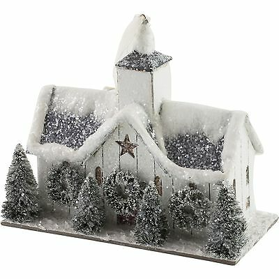 White Christmas Putz Barn Stable Ornament Primitive Colonial Paper Mache