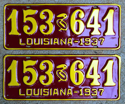 1937 Louisiana license plate pair 153-641 pelican Ford Chevy