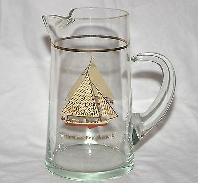 "CHESAPEAKE BAY SKIPJACK Vintage 1976 24KT Glass Pitcher VERY RARE 8"" Tall"