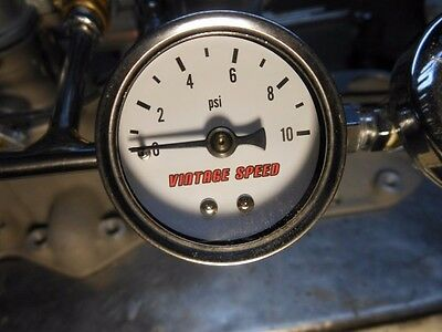 FLATHEAD TRI POWER  HOT ROD VINTAGE SPEED FUEL PRESSURE GAUGE 0 to10 PSI