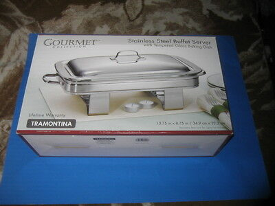 Tramontina Gourmet Stainless Steel Buffet Server with Tempered Glass Baking Dish