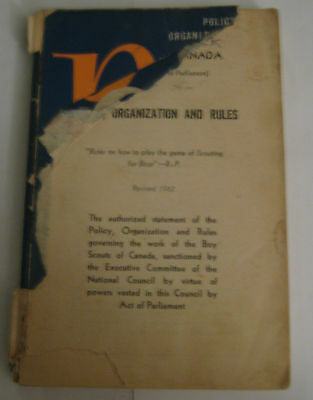 Boy Scouts of Canada Policy, Organization and Rules 1962