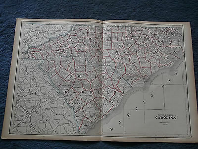 Original Antique 1886  North & South Carolina or Louisiana and Mississippi  Map