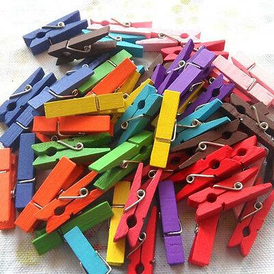 50/100x Colorful Wooden Clothes Photo Paper Peg Clothespin Craft Clips 25mm Wood