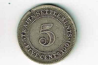Straits Settlements 1901 5 Cents Victoria Foreign Silver Coin British Colony