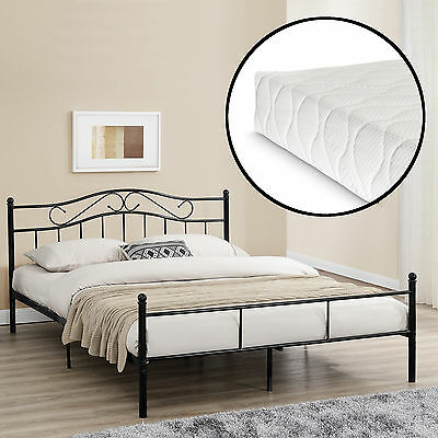 [en.casa] Metal bedframe with Mattress 160x200cm Black Bed Bedstead Double bed