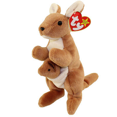 TY Beanie Baby - POUCH the Kangaroo (7 inch) Mint w/ Tags 1996