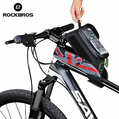 ROCKBROS Bicycle Frame Bag Waterproof Touch Screen Easy Bike Front Tube Bag