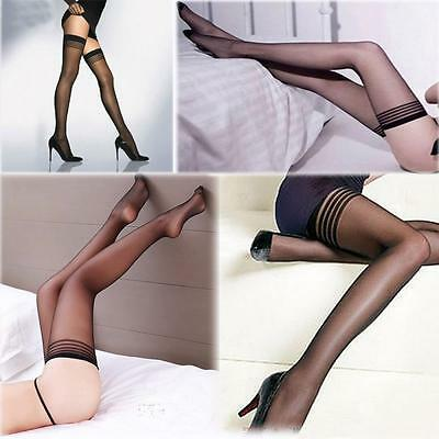 Women Tights Stay-Up Stripes Thigh-highs Stockings Pantyhose