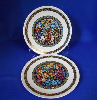 Christmas Plates Porcelain De Limoges Noel 1976 and 1980 Stained glass effect