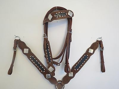 New Leather Western Headstall Bridle Breast Collar Tack Set Grygtr