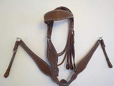 New Leather Western Headstall Bridle Breast Collar Tack Set Brnembossd