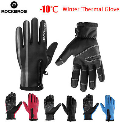 ROCKBROS Winter Cycling Gloves Thermal Windproof Warm Fleece Gloves