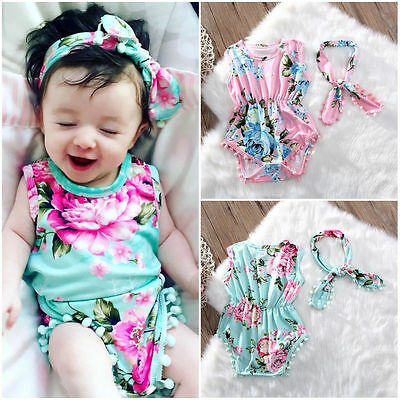 Newborn Kids Baby Girls Floral Bodysuit Romper One Piece Sunsuit Clothes Outfits