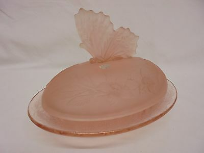 Sowerby Butterfly Pink Frosted Glass Butter Dish Art Deco Design Original Label
