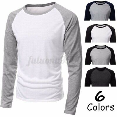 Mens Casual Shirt Slim Crew Neck Raglan Baseball Long Sleeve T-shirt Sports Tops