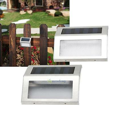 2x Solar Path Stair Outdoor Light Garden Yard Fence Wall Landscape 3 LED Lamp