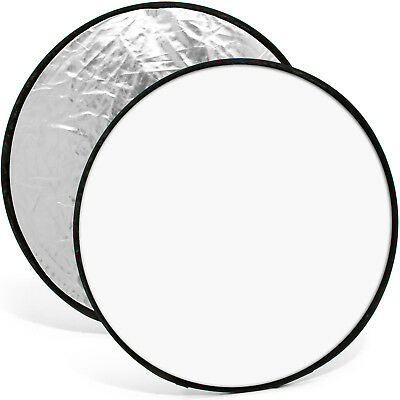 """110cm (43"""") 2-in-1 Collapsible Round Disc Studio Light Reflector Silver & White"""
