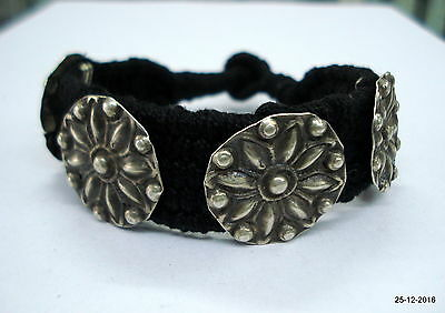 vintage antique ethnic tribal old silver beads bracelet bangle cuff jewelry