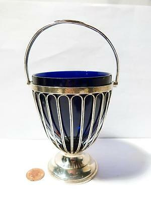 Antique Chester 1906 Silver Handled SUGAR BASKET Cobalt Glass Liner #2368