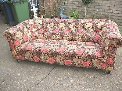 Large old vintage 3 seater Chesterfield sofa William Morris Arts & Crafts Fabric