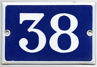 Old blue French house number 38 door gate plate plaque enamel metal sign steel